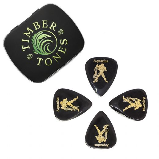 Zodiac Tones Aquarius Tin of 4 Guitar Picks